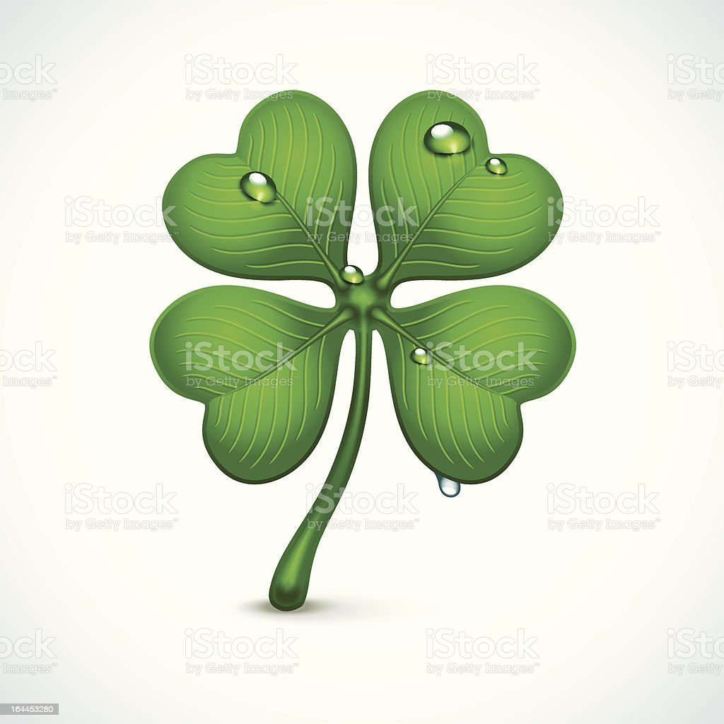 St. Patrick`s Day clover with dew royalty-free stock vector art