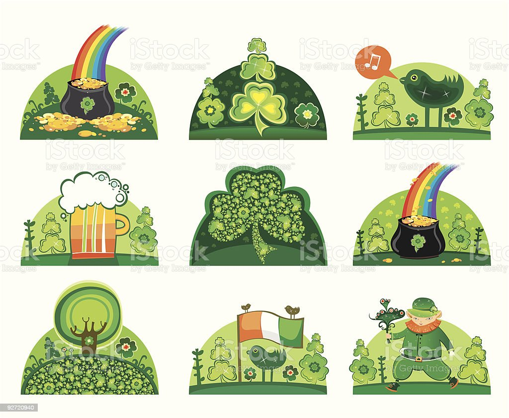 St Patrick's Day icon set royalty-free stock vector art