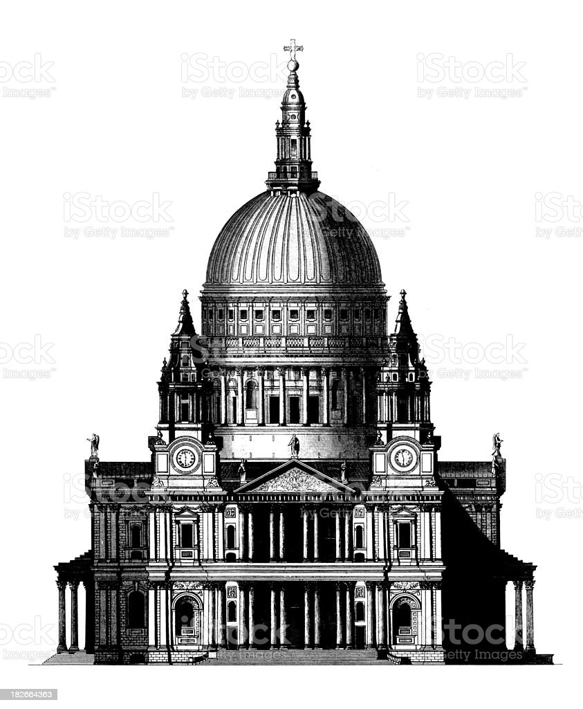 St Paul Cathedral | Antique Architectural Illustrations royalty-free stock vector art