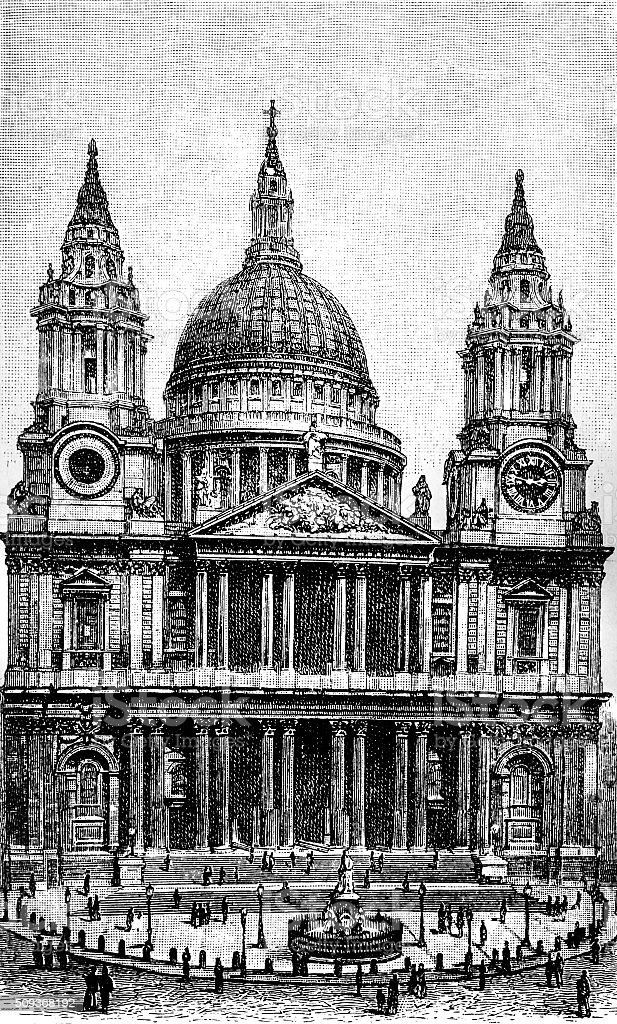 St Paul's Cathedral vector art illustration