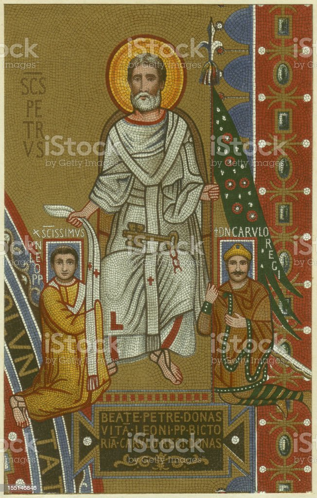 St Peter, Leo III and Charlemagne, Lateran, Rome, published 1880 vector art illustration