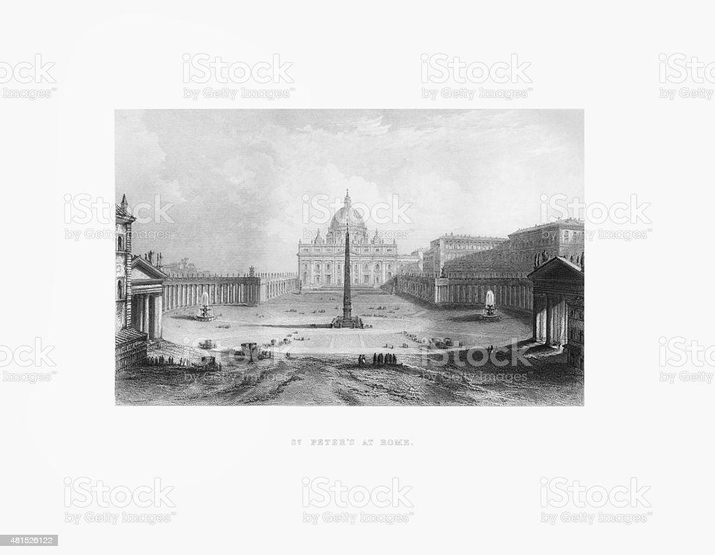 St. Peter's Basilica, Vatican, Italy Victorian Engraving, Circa 1865 vector art illustration