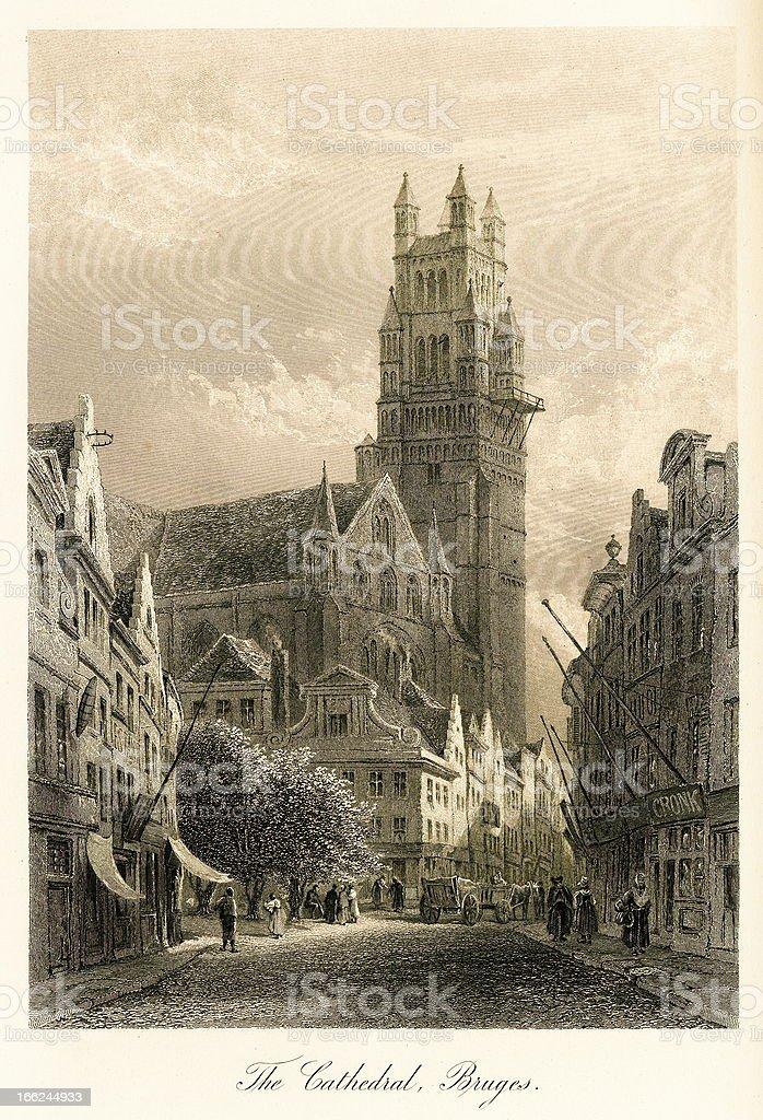 St. Salvator's Cathedral, Bruges, Belgium vector art illustration
