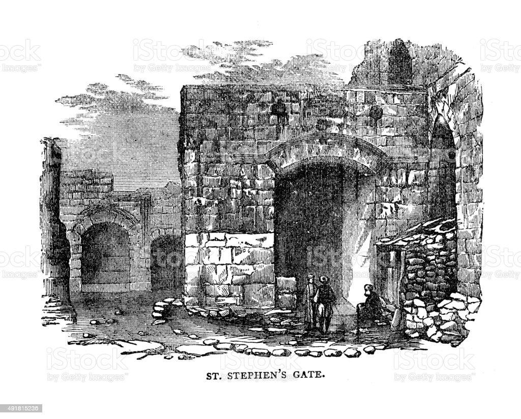 St Stephen's Gate vector art illustration