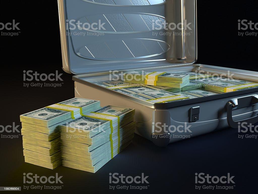 Stack of $100 bills and money case vector art illustration