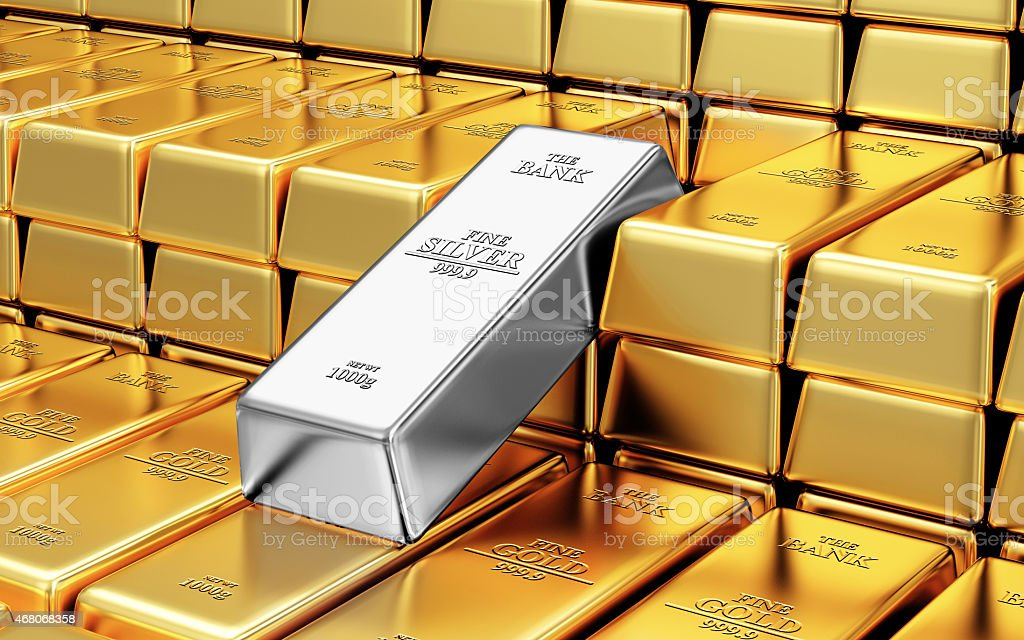 Stack of Golden and Silver Bars in the Bank Vault vector art illustration