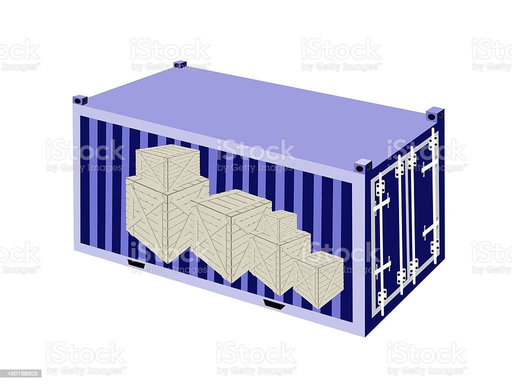 Stack of Wooden Crates in A Cargo Container royalty-free stock vector art