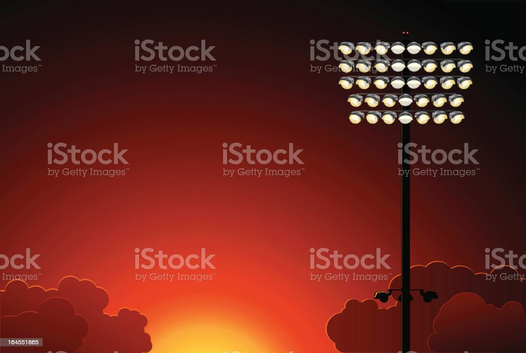Stadium Lights At Sunset vector art illustration