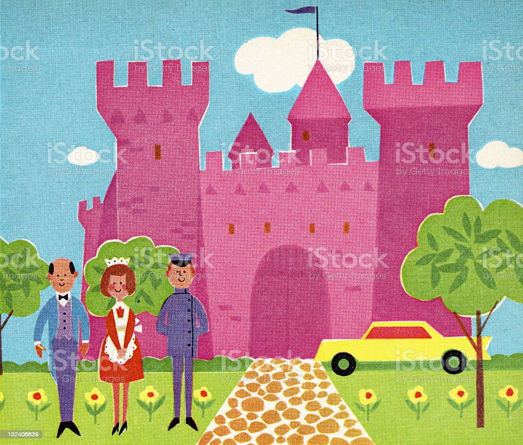Staff in Front of Pink Castle royalty-free stock vector art