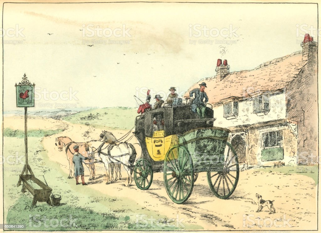 Stage coach stopped at a roadside inn vector art illustration