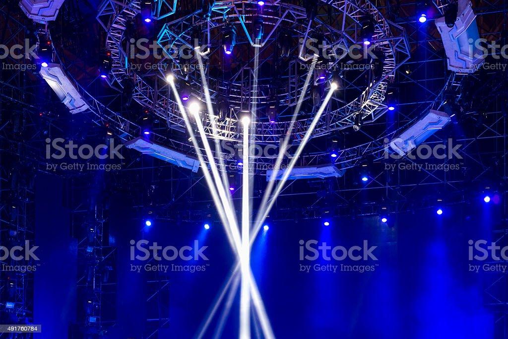 Stage Spotlight with Laser rays vector art illustration