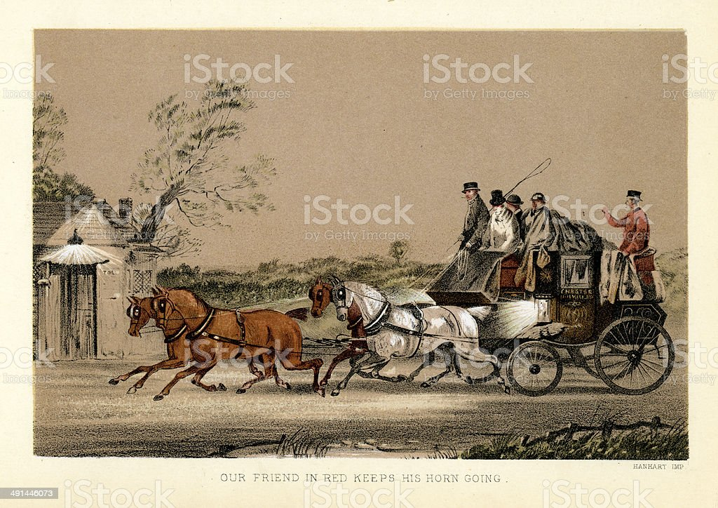 Stagecoach driving through the night royalty-free stock vector art
