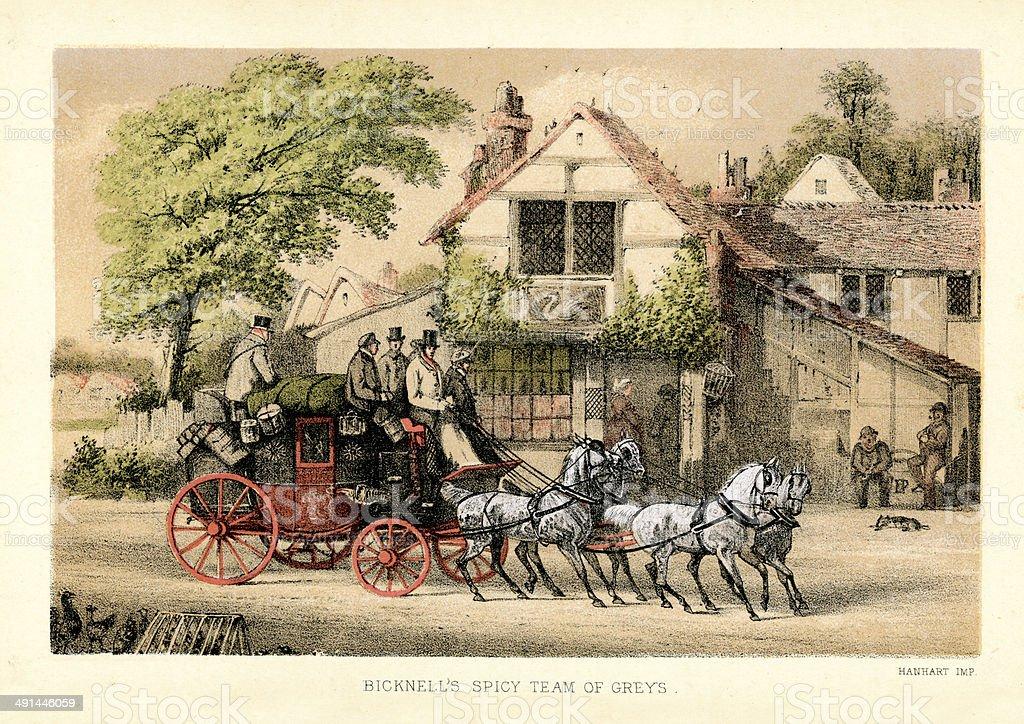 Stagecoach vector art illustration