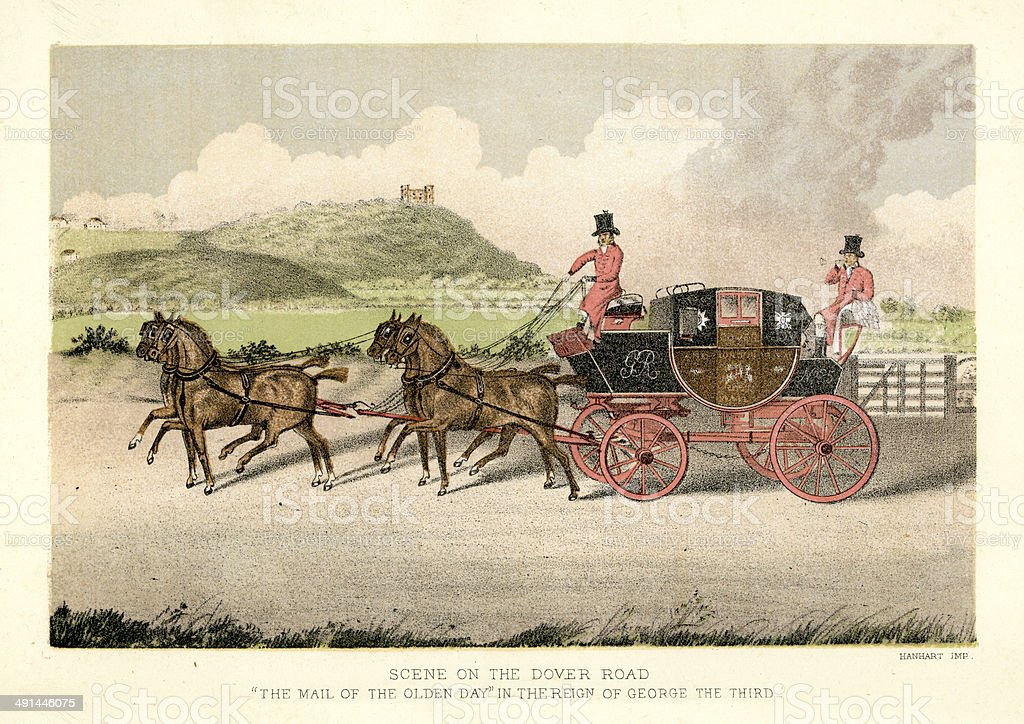 Stagecoach on the Dover Road vector art illustration