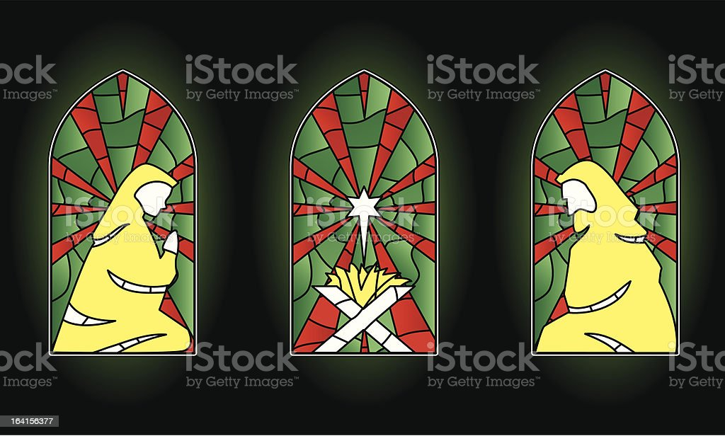 stained glass christmas royalty-free stock vector art