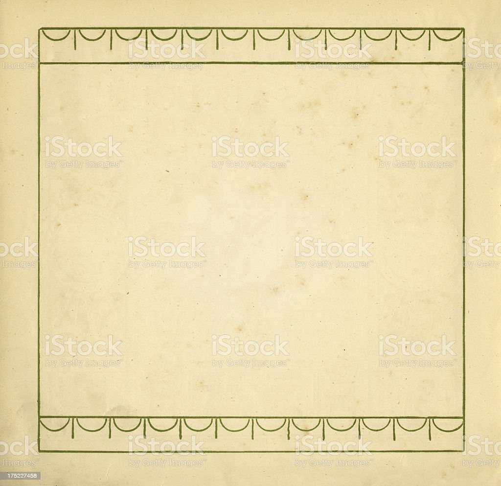Stained Victorian book page with border royalty-free stock vector art