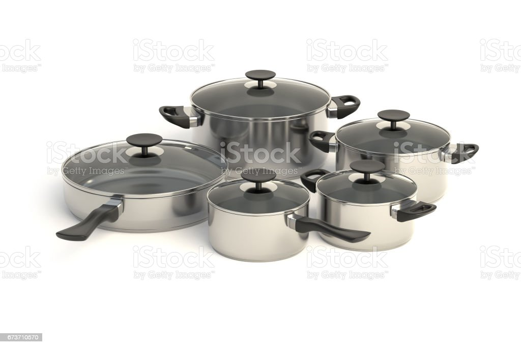 Stainless steel pots and pans stock photo