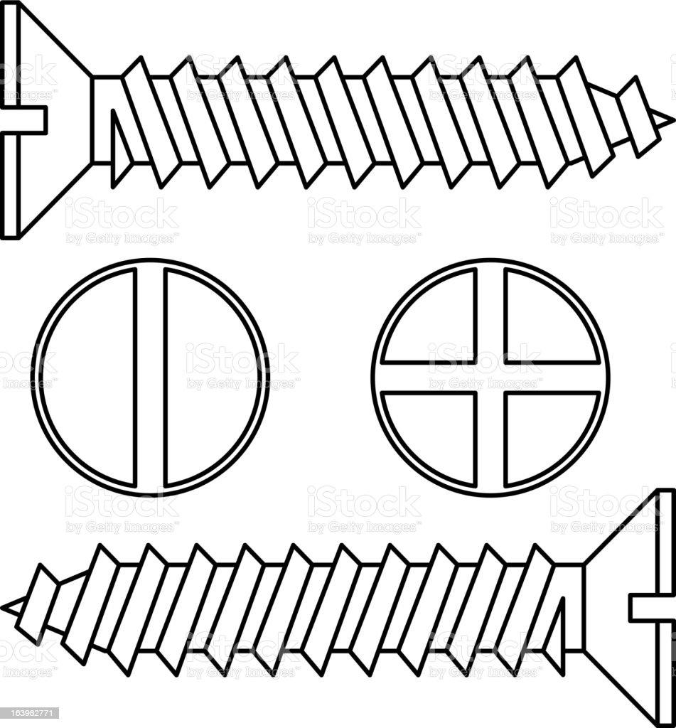 Stainless steel screw. vector art illustration