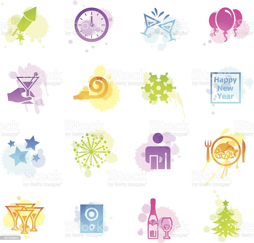 Stains Icons - New Year's Eve vector art illustration