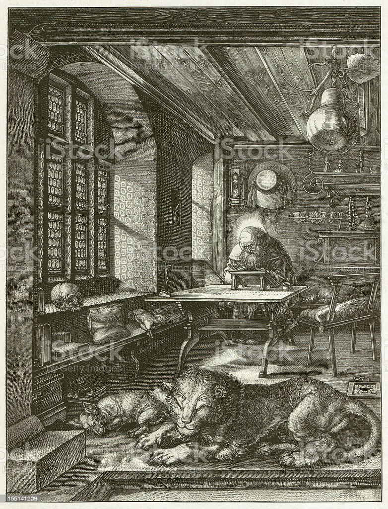 Staint Jerome (1514), by Albrecht Dürer, wood engraving, published 1881 royalty-free stock vector art