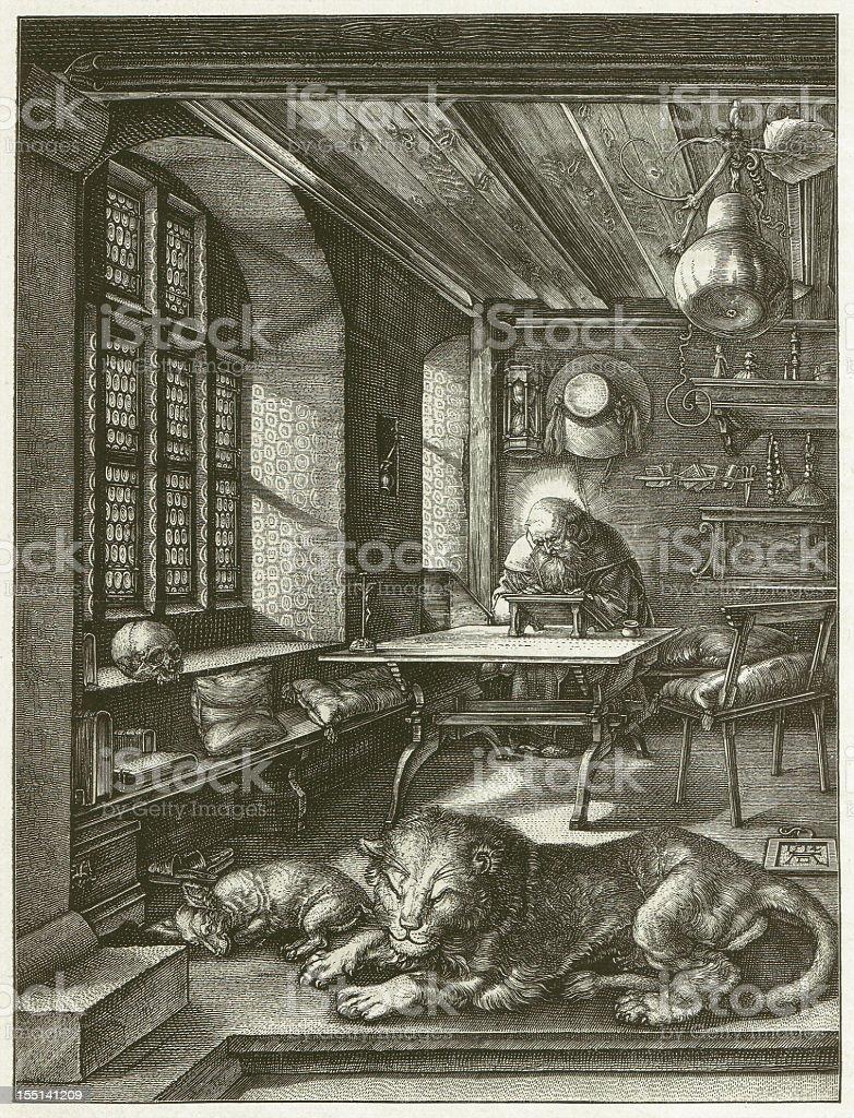 Staint Jerome (1514), by Albrecht Dürer, wood engraving, published 1881 vector art illustration