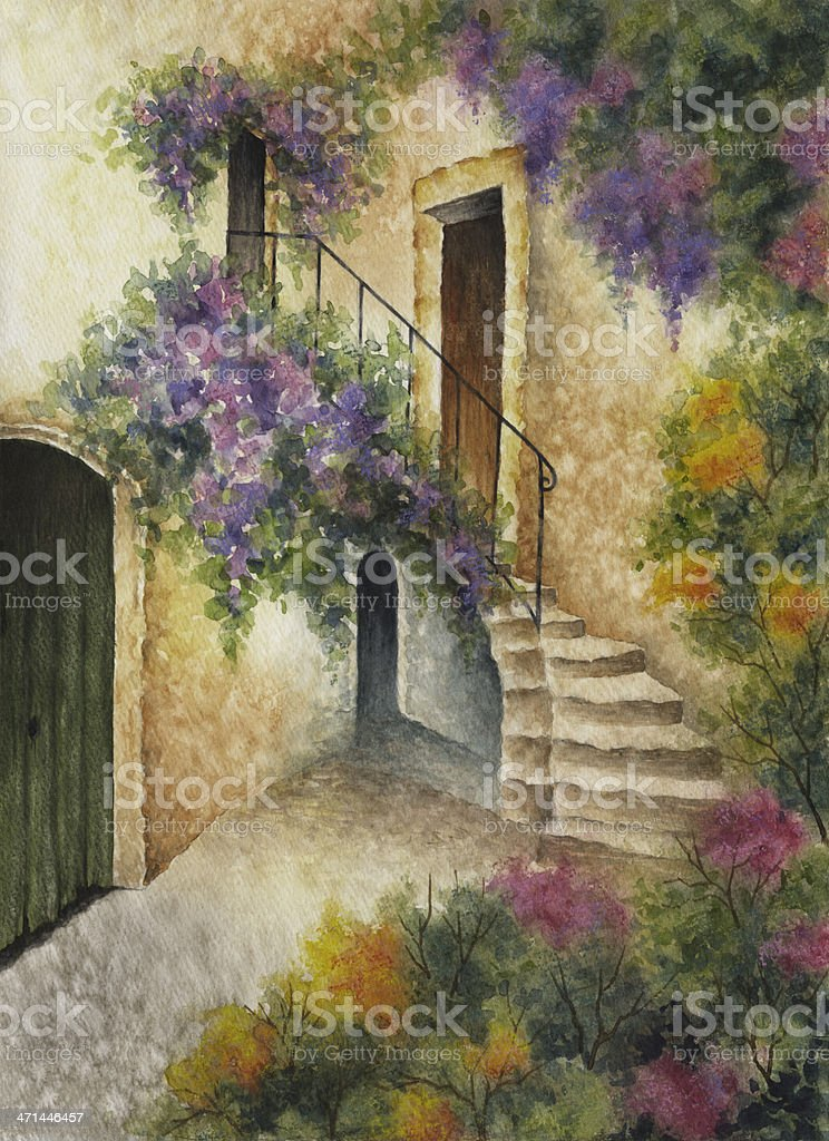 Stairway in Tuscany vector art illustration