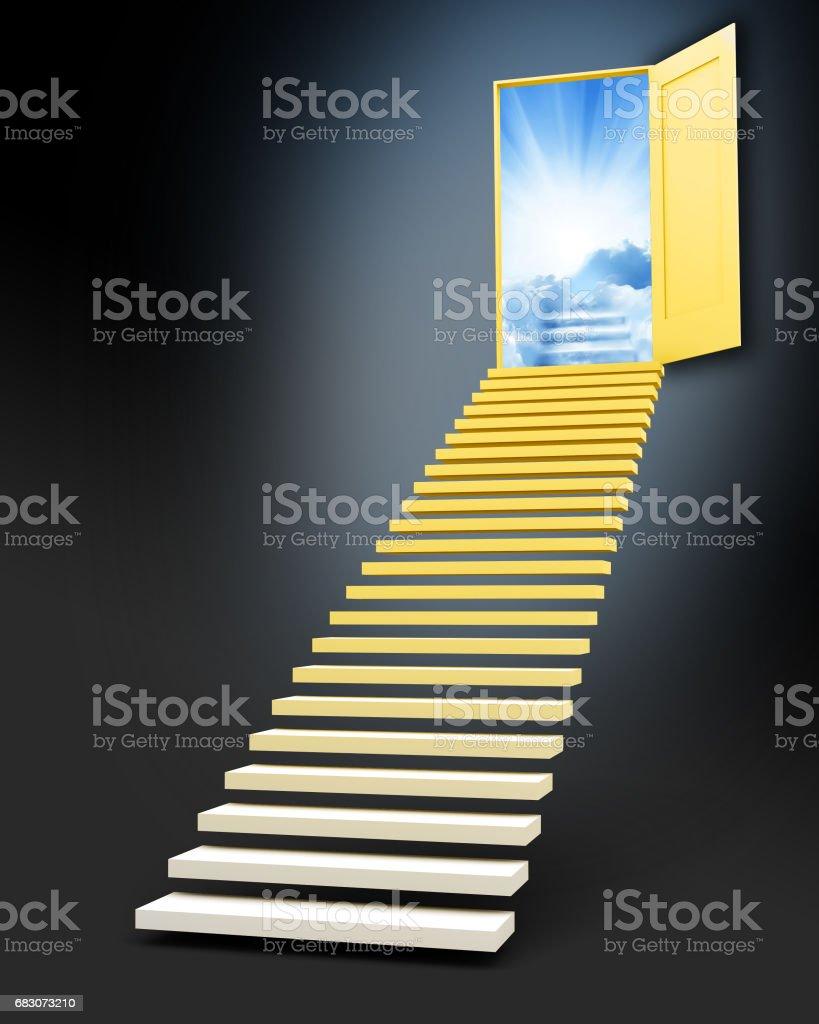 Stairway to freedom vector art illustration