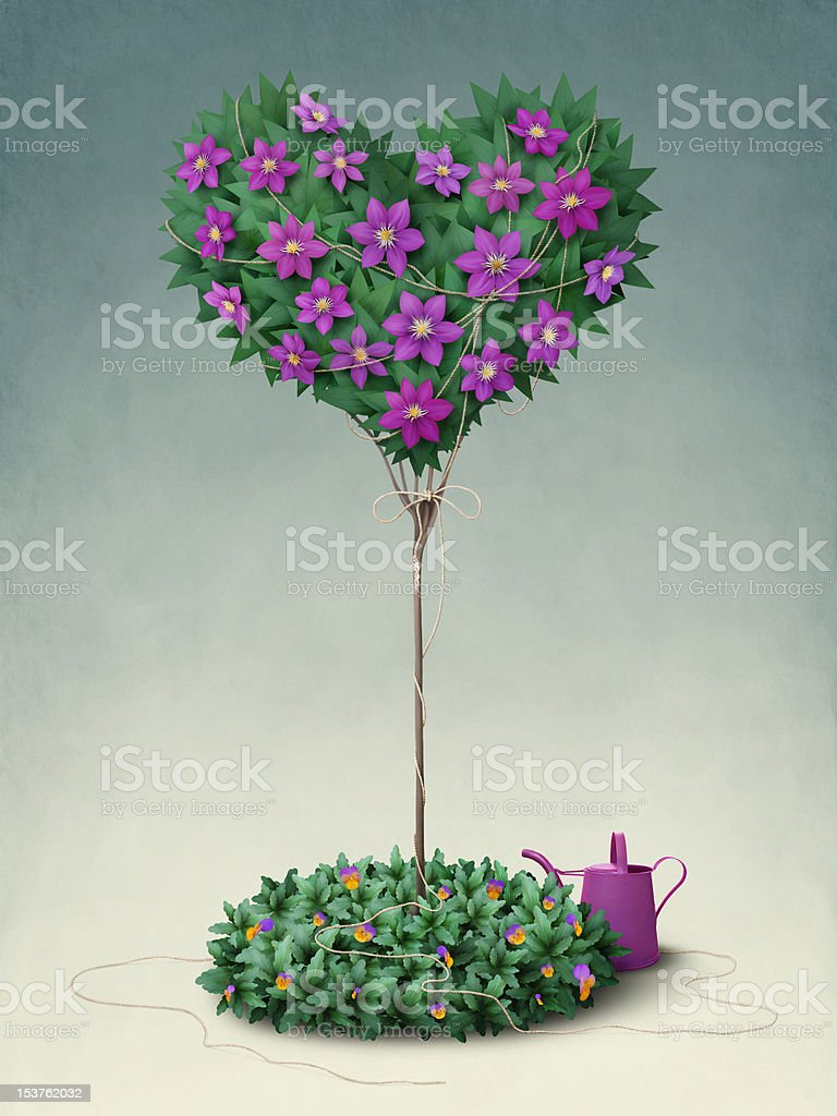 Stam  flowering tree in the shape of  heart. royalty-free stock vector art