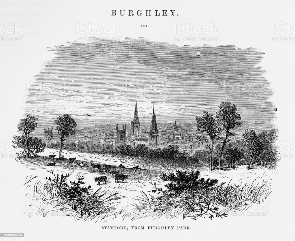 Stamford, From Burghley Park, England Victorian Engraving, Circa 1840 vector art illustration