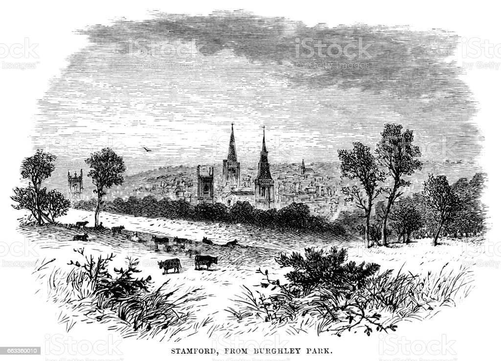 Stamford from Burghley Park (Victorian engraving) vector art illustration