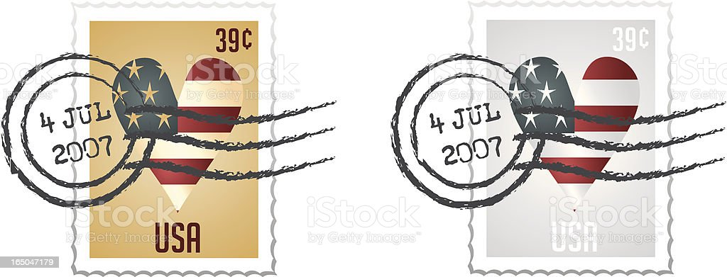 Stamp Series I - Vector stamps with postmark royalty-free stock vector art