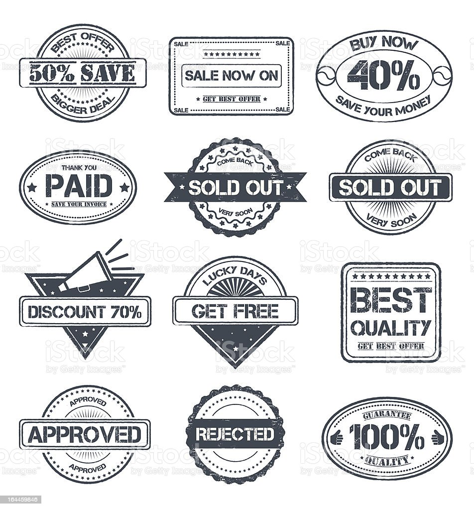 Stamp Style Selling Badges royalty-free stock vector art