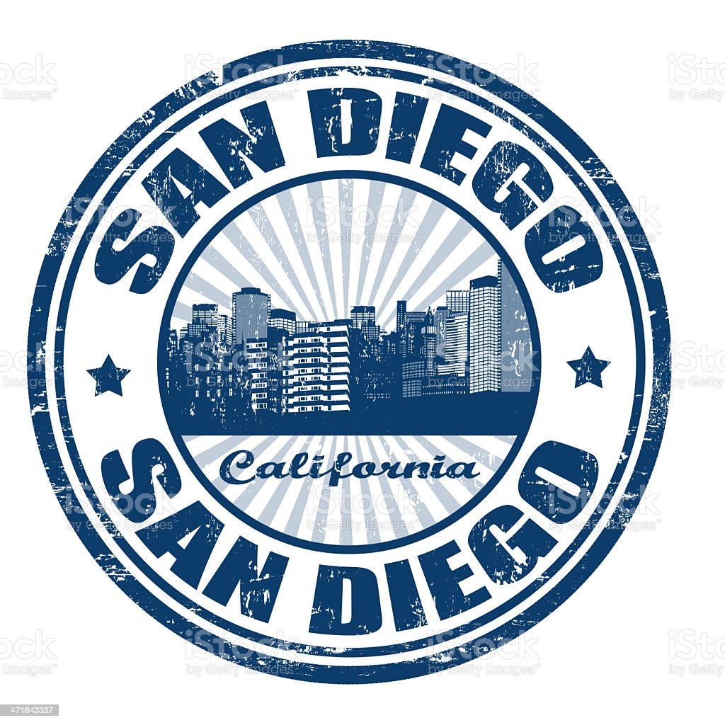 Stamp with San Diego city from California state royalty-free stock vector art