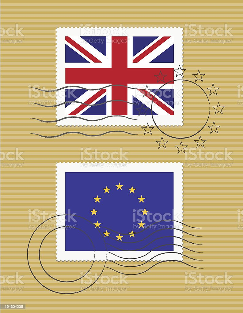 Stamps with flag of United kingdom and EU royalty-free stock vector art