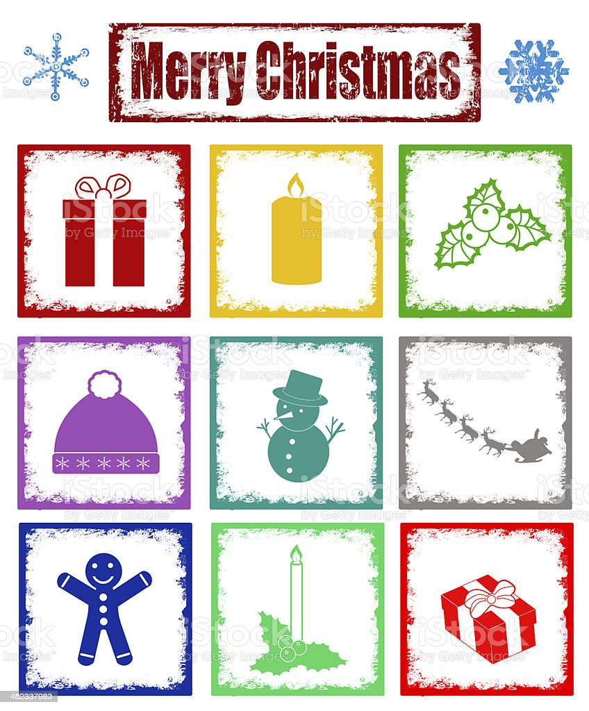Stamps with symbols of Christmas royalty-free stock vector art