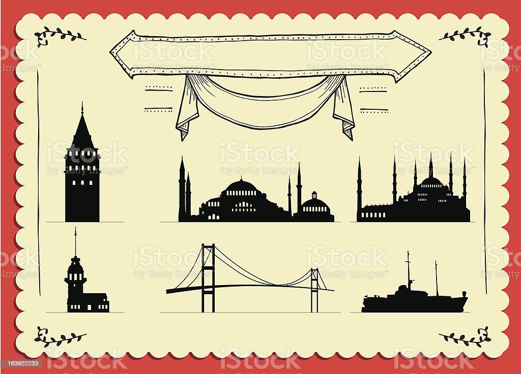 İstanbul Cardpostal royalty-free stock vector art