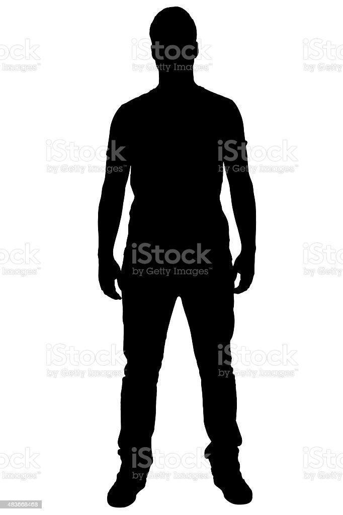Standing boy's silhouette. vector art illustration