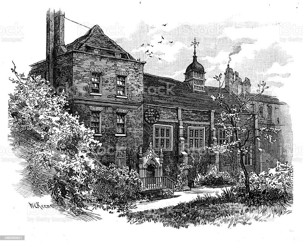 Staple's Inn vector art illustration