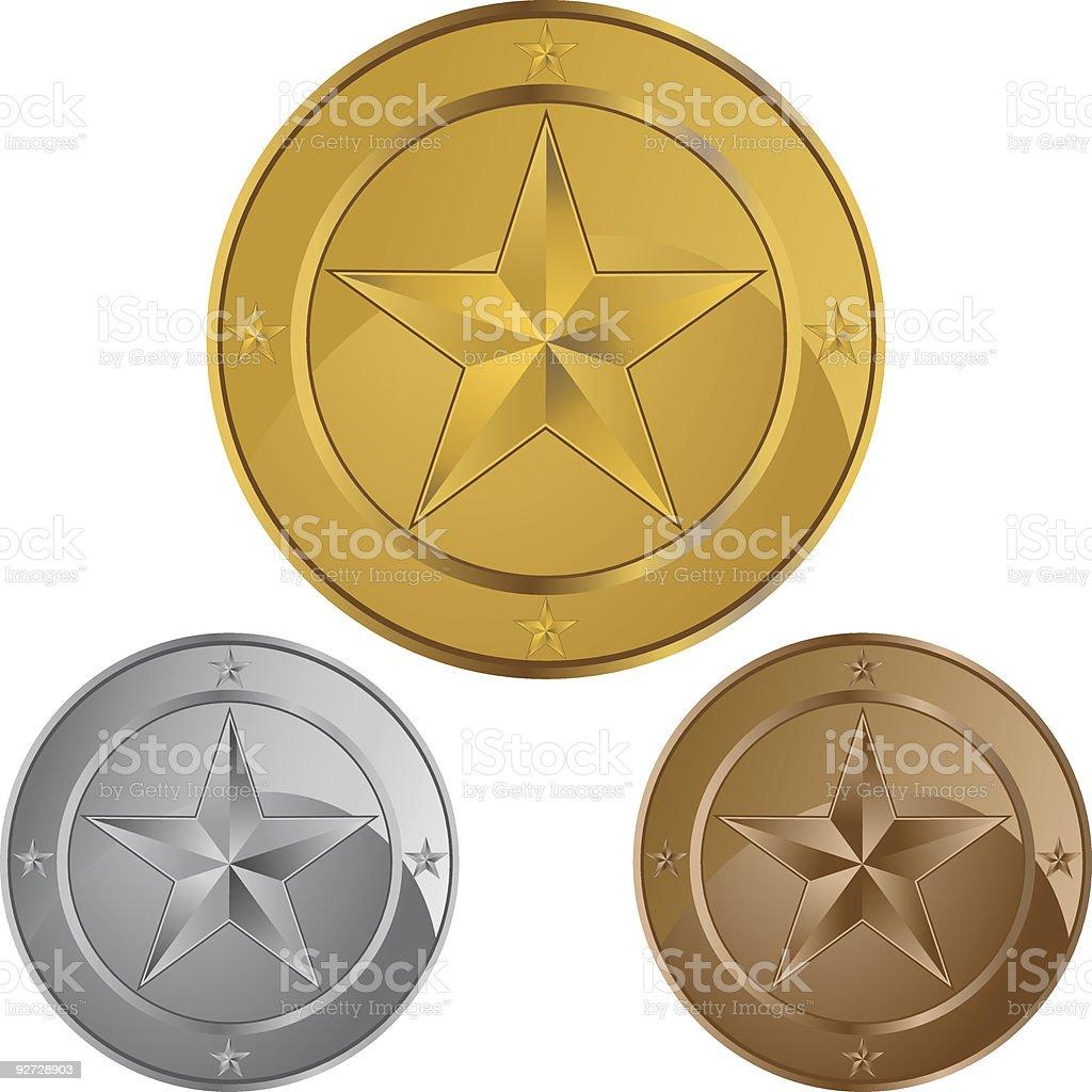 Star Coin Medals vector art illustration