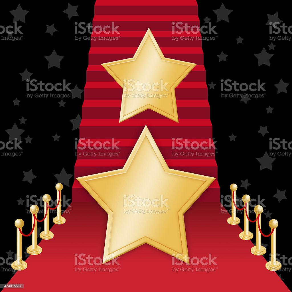 Star on Red carpet vector art illustration