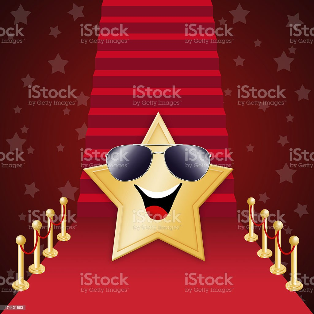 Star on Red carpet  scale vector art illustration