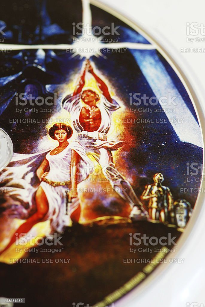Star wars characters on DVD close-up vector art illustration