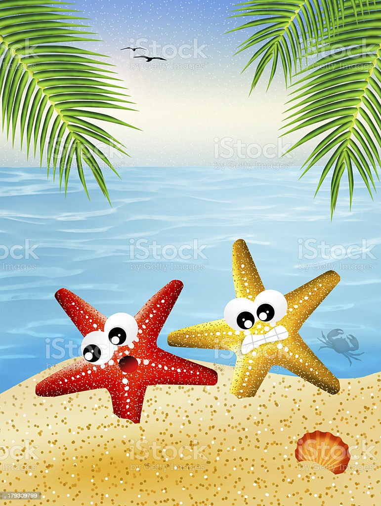 Starfish cartoon royalty-free stock vector art