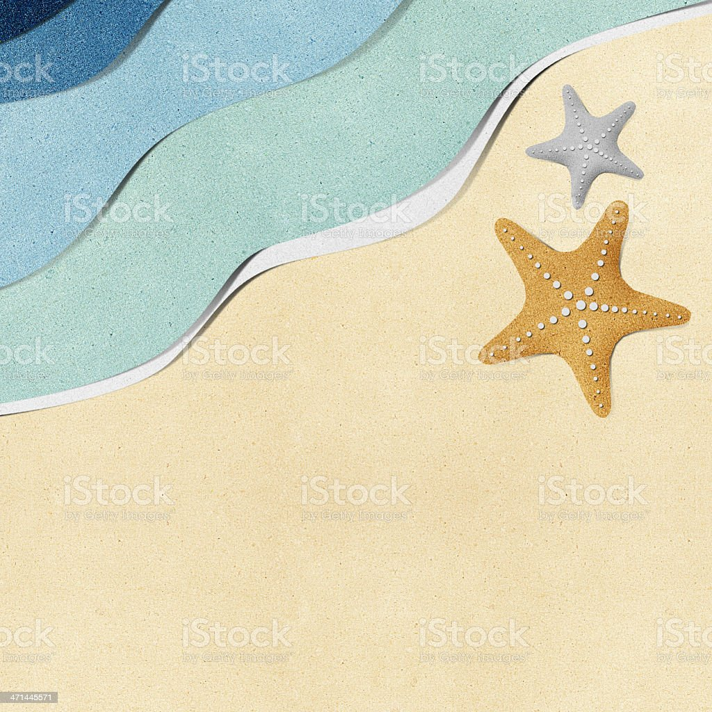 Starfish on beach recycled papercraft background royalty-free stock vector art