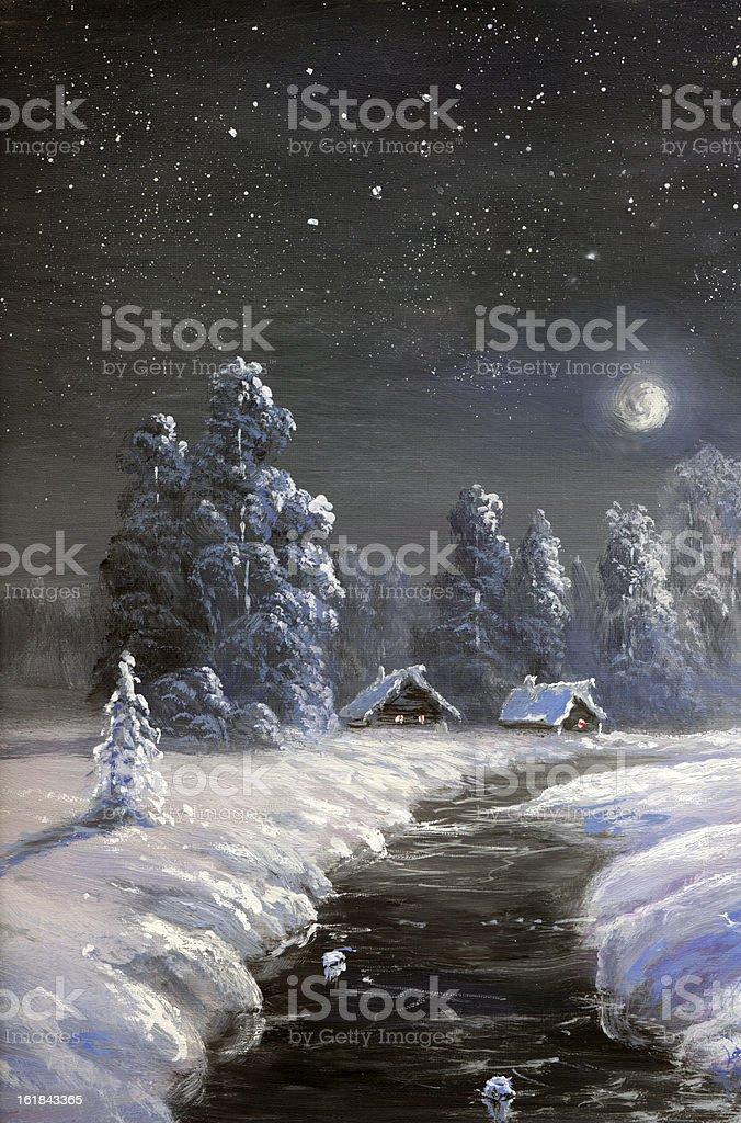 starlit winter night royalty-free stock vector art