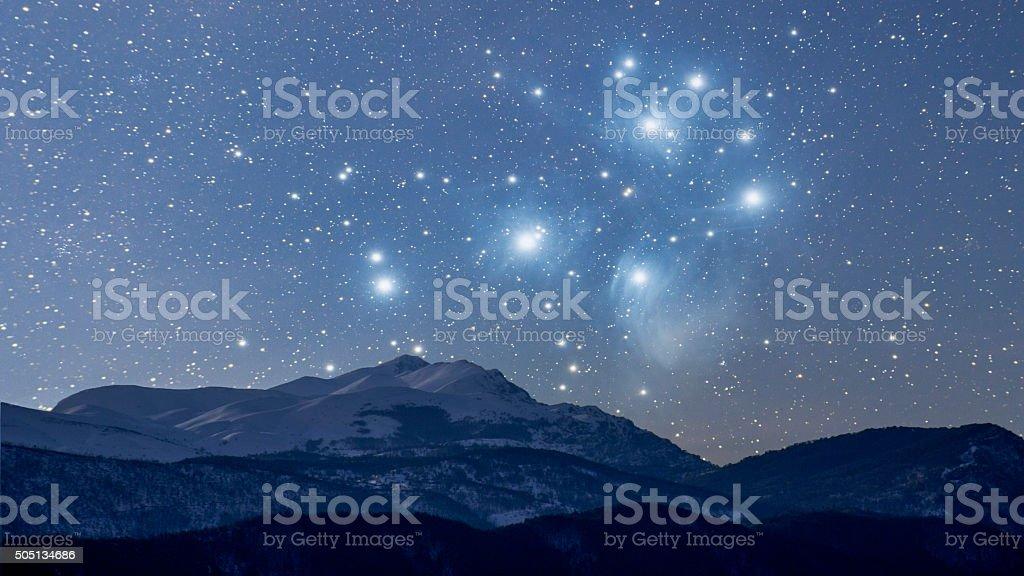 Starry winter night vector art illustration