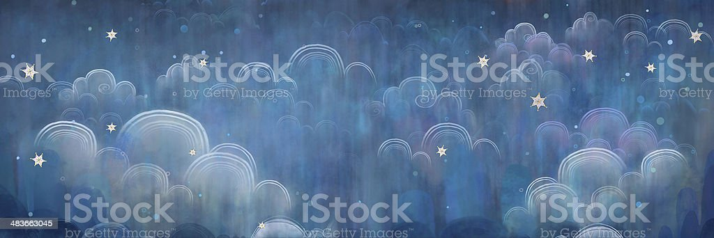 Stars and clouds on a blue night sky. vector art illustration