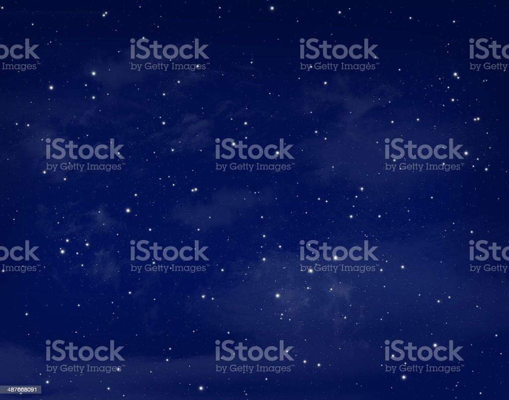 Stars in a night blue sky vector art illustration