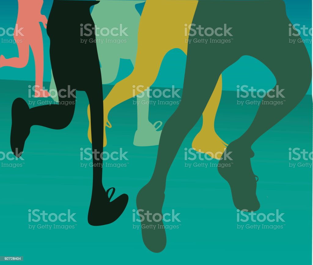 Start of a 10K run royalty-free stock vector art