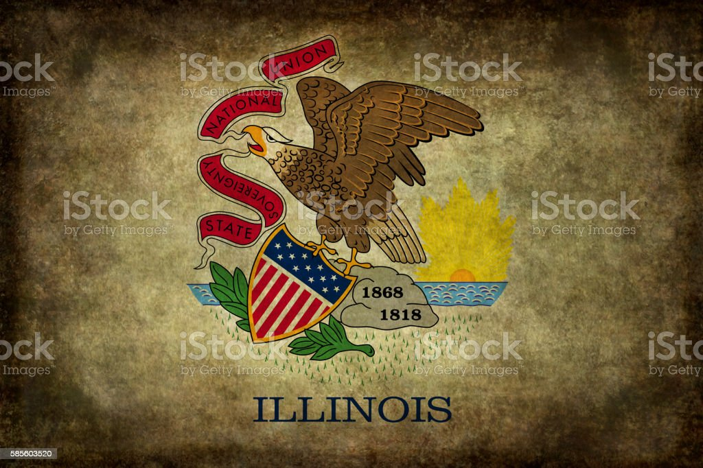 State flag of Illinois with vintage distressed textures vector art illustration